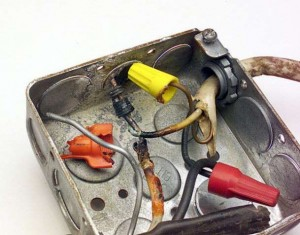 Burnt Electrical Splices in a Junction Box