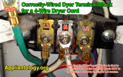 3-wire terminal block correctly wired