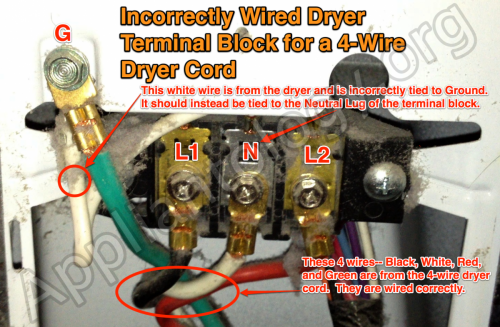 4-wire terminal block incorrectly wired