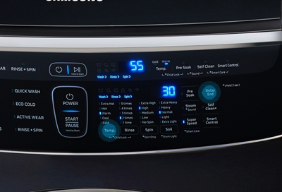 Electronic controls with LED display on a washer